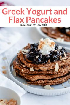 These delicious low carb pancakes are packed with protein and fiber from a delicious combination of Greek yogurt and flax. All topped with the best blueberry sauce. Healthy Gluten Free Recipes, Quick Healthy Meals, Healthy Breakfast Recipes, Low Carb Recipes, Vegetarian Recipes, Cooking Recipes, Whole30 Recipes, Greek Yogurt Pancakes, Low Carb Pancakes