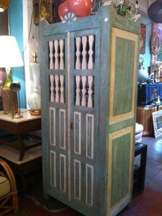 This vintage Hacienda cabinet was made from solid hardwood and has a unique painted finish. Saving Time, Vintage Storage, Household Items, Restore, Vintage Furniture, Sunsets, Hardwood, Restoration, Old Things