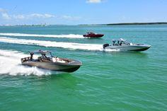 Florida Powerboat Club - 3 center consoles leaving Miami, FL