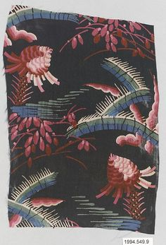 Textile sample  Manufacturer:Wiener Werkstätte Designer:Unknown Designer Date:1910–28 Medium:Silk Dimensions:H. 8-3/4, W. 6 inches (22.2 x 15.2 cm.) Classification:Textiles-Printed