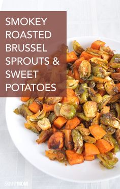This is the perfect healthy side dish for any party! Check out the full recipe for this roasted brussel sprouts and sweet potatoes dish on our site today!