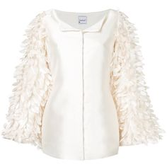 Bambah pearl feather jacket ($850) ❤ liked on Polyvore featuring outerwear, jackets, white, white feather jacket, white jacket, long jacket, white collarless jacket and collarless jacket