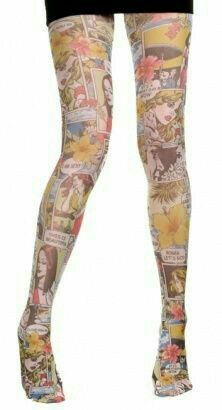 Pop Art Comic Strip Patterned Tights - Vintage clothing from Rokit - I would definitely wear these! Nylons, Patterned Tights, Japanese Street Fashion, Geek Girls, Tight Leggings, Fashion Outfits, Womens Fashion, Retro, Hosiery