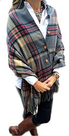 Pretty Simple Plaid Button Blanket Scarf Shawl Women's Wrap (Grey)
