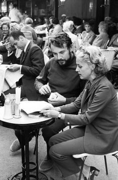 "mignonne-allons-voir-si-la-rose:  ""  David Hurn FRANCE. Paris. Jeanne MOREAU with film director Milos FORMAN.  """