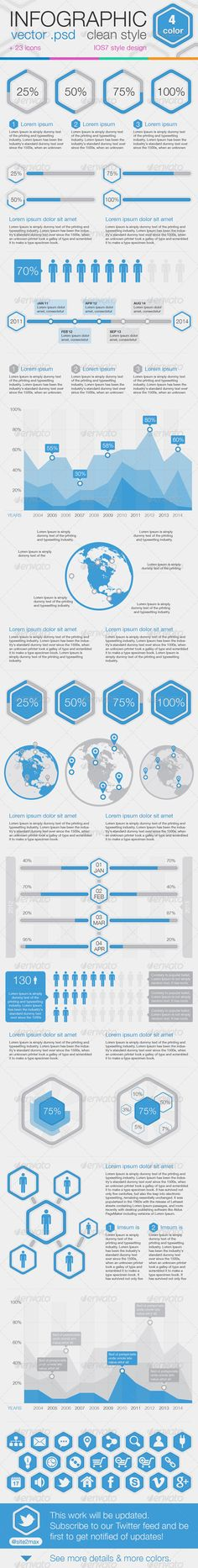 """Infographic clean style  #GraphicRiver         This work will be updated Subscribe to our Twitter (@site2max) feed and be first to get notified of updates.    100% vector in PSD format  changeable size  adjustable colors  organized PSD layers  icons set  Helvetica font  Web and print ready  clean and light IOS7 – style design WHAT DO YOU GET?  1 x PSD file """"BLUE"""" (all PSD 1075×7806 px)  1 x PSD file """"PINK"""" (all PSD 1075×7806 px)  1 x PSD file """"ORANGE"""" (all PSD 1075×7806 px)  1 x PSD file…"""