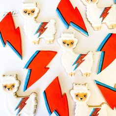 Decorated llama sugar cookies! Call or email to order your celebration cookies today. Click visit for more information! #cookies #sugarcookies #decoratedcookies #cookieideas #llamabirthday #llama #davidbowie #cookiedesserts