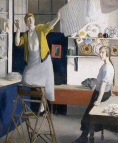 Harold Harvey (British, 1874-1941) Kitchen Interior c 1918