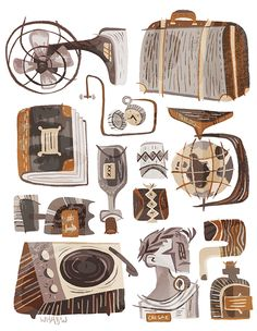 Selected work by Seattle-based illustrator Pam Wishbow. Environment Concept Art, Environment Design, Prop Design, Visual Development, Cute Illustration, Graphic Illustrations, Shops, Vector Art, Ideas