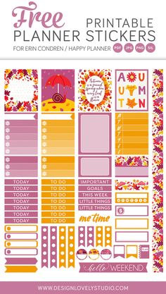 Free Printable Fall Planner Stickers from Design Lovely Studio {subscription required}