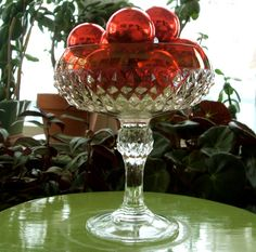 Diamond Point Ruby Flash Glass Compote Cranberry Candy Dish Indiana Glass Co by lookonmytreasures on Etsy