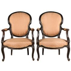 Image of 1860s French Rococo Style Armchairs - A Pair