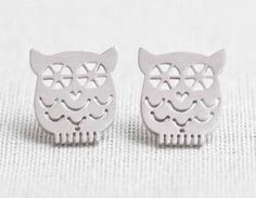 Tiny Owl Earrings In Silver