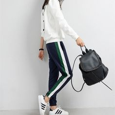 Fashion Pants White Striped Side Loose Trousers Long Sweat Pants