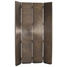Epicenter Vintage Brass Metal Clad Room Screen with Single Swing Hinge/Matte Black Foot
