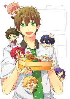chibi, kawaii, and free! Anime Kawaii, Anime Chibi, Manga Anime, Anime Art, Free Eternal Summer, Makoto Tachibana, Makoharu, Anime Boys, Vocaloid