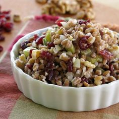 Farro Stuffing with Cranberries and Walnuts #SundaySupper - You'll want leftovers! #vegan #holidayrecipes
