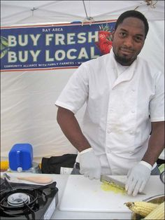 Bryant Terry gives a healthy cooking demo at the Bayview Farmer's Market. He is an eco chef, food justice activist, and author of Grub: Ideas for an Urban Organic Kitchen and the forthcoming Vegan Soul Kitchen: Fresh, Healthy, and Creative African-American Cuisine.