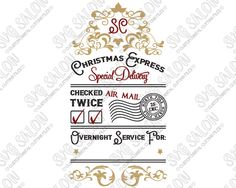 santa sack christmas express special delivery custom diy vinyl bag decal cutting file printable clipart