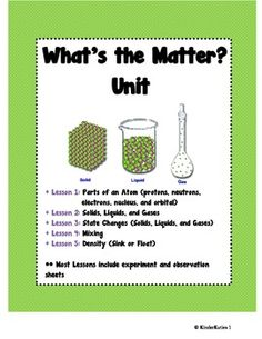 What's the Matter? 3rd - 6th grade Science Unit Plan