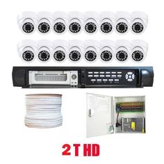 "Complete CCTV Surveillance Package of 16 Channel H.264 DVR with 16 x 1/3"" Sony CCD Aluminum Dome Camera, 520 TV lines, 3.6mm Len. iPhone and VGA support, Central Management System /w 2T HDD by Gw. $1420.00. Package includes: GW9016V - 16 channel network DVR with 2T HDD CD with manual and software;  16 x GW726W -1/3"" Sony CCD Camera;  1 x GW1000RG59: 1000 Feet RG59 Siamese Power/Video Combo Cable;  GW1218-10A: 1 x 18 ports power box;  16 x Power pigtail (GW082);  32 x GW10009:..."