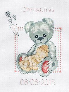 Buy Baby Girl Snuggles Cross Stitch Kit Online at www.sewandso.co.uk
