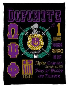 Omega Psi Phi Personalized Fleece Blanket - Personalized - NEW LOWER PRICING!!! - Designs by Dee's Hands  - 1