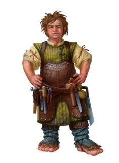 Male Halfling Carpenter Bigfoot - Pathfinder PFRPG DND D&D 3.5 5th ed d20 fantasy