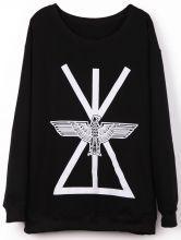 #SheInside Black Long Sleeve Geometric Eagle Print Sweatshirt $30.48
