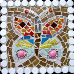 Garden stepping stone with mosaic butterfly by SableStudioGallery, $56.00