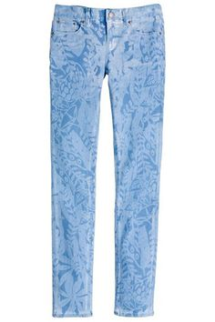 Bleached denim print, make a template, spray bleach water on the jeans and presto!