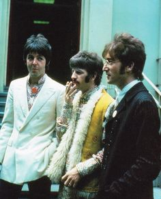"""Paul, Ringo and John at Abbey Road Studios for the promotion of """"All You Need Is Love"""", 25th June 1967"""