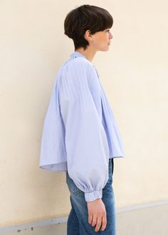 b4b82f3a6a4f61  newarrivals  Tibi  Isabelle  Shirting  Edwardian  Pleated  Highneck  Ruched