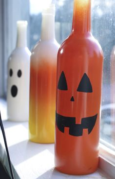 Halloween Painted Wine Bottle Decorations