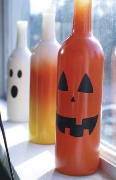 "Halloween Painted Wine Bottle Decorations #diy #upcycle #holidaycrafts #winebottleart #LiquorList @LiquorListcom www.LiquorList.com ""The Marketplace for Adults with Taste!"""