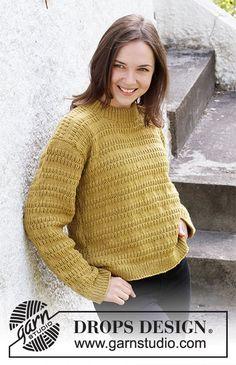 Mustard Seeds / DROPS 215-18 - Kostenlose Strickanleitungen von DROPS Design Drops Design, Knitting Patterns Free, Free Knitting, Cast Off, Labor, Crochet Diagram, Work Tops, Pullover, Chain Stitch