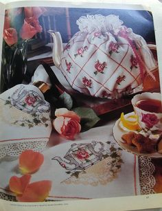 Complete instructions for great projects charted for counted cross stitch  Rose pillow Ball caps Wisteria dress Tea linens Apple tart pan Peter Cottontail sampler Easter eggs Hardanger ornaments