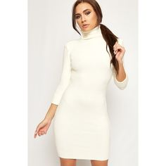 WearAll Polo Neck Knitted Long Sleeve Mini Dress (£19) ❤ liked on Polyvore featuring dresses, cream, bodycon dresses, white dress, long-sleeve turtleneck dresses, long sleeve bodycon dress and white long sleeve dress