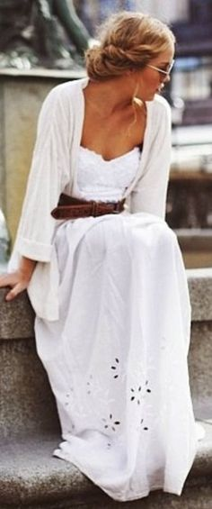 """Summer time boho chic."" Dress: check. Does thin belts work on this outfit?"
