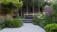 Like the way this seating area is partly surrounded by perennial and grass planting but has the structural backdrop of the vertical birch trees.