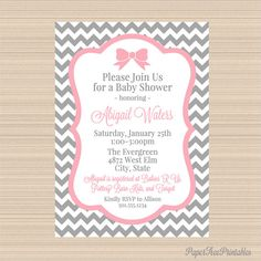 Grey and Pink Chevron Digital Baby Shower by PaperTreePrintables, $10.00