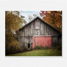 Rustic Barn Picture, Barn Landscape, Country Decor, Rustic Decor, Barn with Red Door, Grey, Red, Vintage Barn Photograph. via Etsy