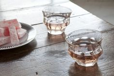 Above: Melted Picardie glasses; a set of Two Clear Tipsy Glasses is £23 ($35) from Loris & Livia.
