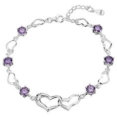 EleQueen 925 Sterling Silver Cubic Zirconia I Love U Double Heart Bridal Bracelet Chain >>> You can find out more details at the link of the image.(This is an Amazon affiliate link)