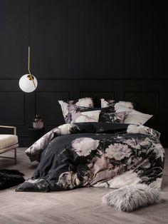 LINEN HOUSE- MARSELHA BLACK DUVET COVER- FLORAL PRINTED- FLOWER PRINT- REVERABLE