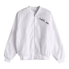 Zip Up Letter Graphic Bomber Jacket White ($20) ❤ liked on Polyvore featuring outerwear, jackets, bomber jackets, bomber style jacket, blouson jacket, white flight jacket and zip up jackets