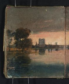 Joseph Mallord William Turner 'A River or Lake with Trees and Buildings against a Sunset Sky', - Gouache, graphite and watercolour on paper - Dimensions Support: 113 x 93 mm - Collection - Tate Joseph Mallord William Turner, Watercolor Landscape Paintings, Landscape Art, Turner Watercolors, Turner Painting, Realistic Sketch, Artist Sketchbook, Sunset Sky, Covent Garden