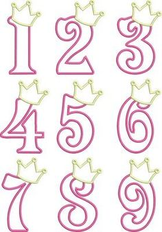 Birthday Princess Numbers- so cute! I& thinking of making the numbers in Candy Melts (fill in solid) and adding to the cake for the Birthday Princess! Royal Icing Templates, Royal Icing Transfers, Cake Templates, Alphabet Templates, Cake Decorating Tips, Cookie Decorating, Decoration Birthday, Princess Cookies, Fondant Letters