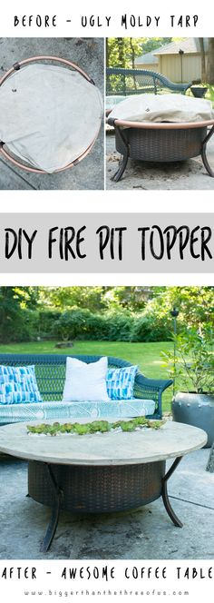 Transform that Fire Pit to an adorable coffee table when it's not in use. Follow this tutorial to make one for yourself!