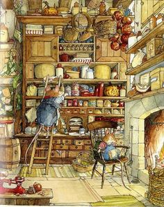 A scene from the book series Brambly Hedge. Written and illustrated by Jill Barklem.